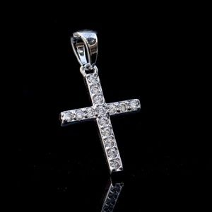Iced Cz White Gold Plated Small cross necklace